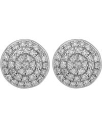 Monica Vinader - Silver Diamond Ava Button Stud Earrings - Lyst