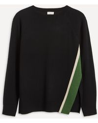 Dries Van Noten Open-side Stripe Merino Sweater - Black