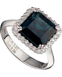 Kojis White Gold Indicolite Tourmaline And Diamond Ring - Metallic