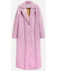 Stand Studio Mollie Long Faux-croc Coat - Pink