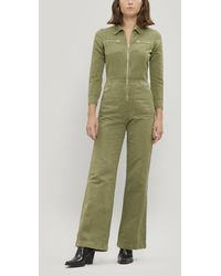 ALEXACHUNG Cropped Cotton And Linen-blend Drill Jumpsuit - Green