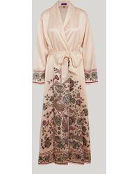 Liberty - Tree Of Life Silk Satin Long Robe - Lyst