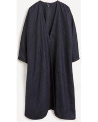 Eskandar Piped Open Front Wool-blend Coat - Blue