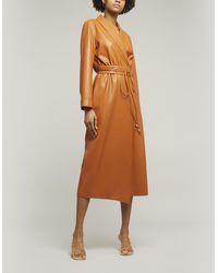 Nanushka Emery Belted Vegan Leather Wrap Dress - Orange