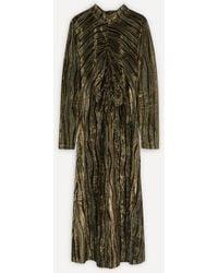 Stine Goya Asher Ruched Velvet Dress - Green