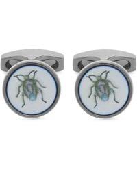 Simon Carter Bug Mother Of Pearl Cufflinks - Blue