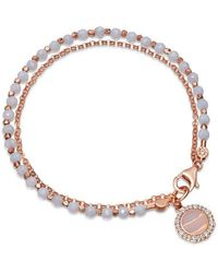 Astley Clarke Rose Gold Vermeil Luna Lace Agate Sapphire Biography Bracelet - Metallic