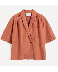King & Tuckfield Wrap-around Silk-cotton Shirt - Orange