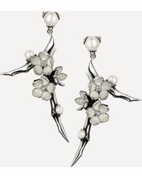 Shaun Leane Cherry Blossom Small Pearl And Diamond Flower Drop Earrings - Metallic