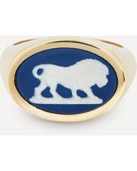 Ferian Gold Wedgwood Lion Oval Signet Ring - Multicolour
