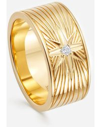 Astley Clarke Gold Plated Vermeil Silver Celestial Compass White Sapphire Ring - Metallic