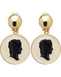 Oscar de la Renta Cameo Portrait Clip-on Earrings - Metallic