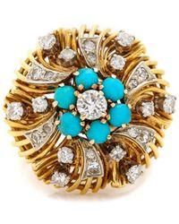 Kojis Gold Diamond And Turquoise Dress Ring - Metallic