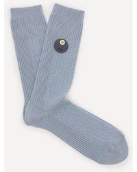 Folk Waffle Socks - Blue