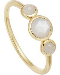 Astley Clarke Gold Vermeil Stilla Triple Moonstone Ring - Metallic