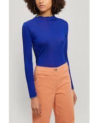 Paloma Wool Soda High-neck Ribbed Top - Blue