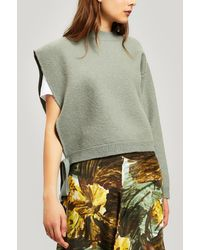 Erika Cavallini Semi Couture One Shoulder Wool Knit Jumper - Green