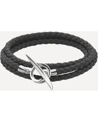 Shaun Leane Silver Quill Leather Wrap Bracelet - Metallic