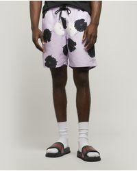 suge White Lotus Flower Men Beach Shorts with Mesh Lining Gym Shorts