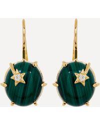 Andrea Fohrman 18ct Gold Mini Galaxy Malachite And Diamond Star Drop Earrings - Metallic