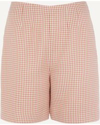 ALEXACHUNG Darted Houndstooth Shorts - Pink