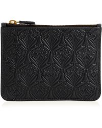 Liberty Coin Pouch In Embossed Leather - Black