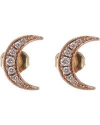 Andrea Fohrman - Rose Gold Small Crescent Moon White Diamond Stud Earrings - Lyst