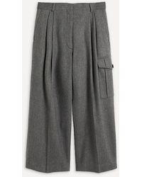Dries Van Noten Runway Cropped Pleated Pants - Gray