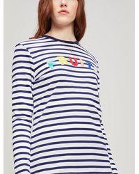 Être Cécile Fruits Striped Long-sleeve T-shirt - White