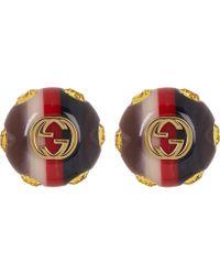 Gucci - Vintage Sylvie Web Stud Earrings - Lyst