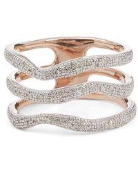 Monica Vinader Riva Diamond Wave Triple Band Ring - Metallic