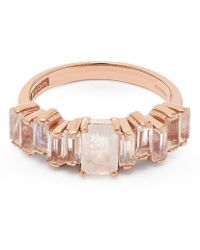 Suzanne Kalan Rose Gold Amalfi Emerald Cut Rainbow Moonstone Ring - Pink