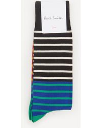 Paul Smith Quay Stripe Socks - Blue