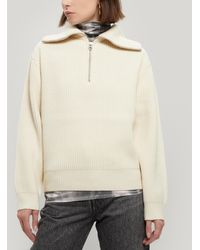 Acne Studios Kelanie Half-zip Ribbed Wool-blend Sweater - White