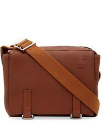 Loewe Military Xs Leather Messenger Bag - Brown
