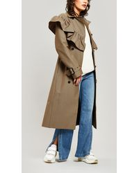 MSGM Houndstooth Ruffle-trim Wool-blend Trench Coat - Natural