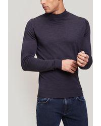 John Smedley Harcourt Mock-neck Sweater - Blue