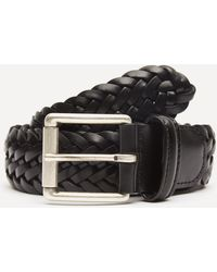 Andersons Leather Woven Belt - Black