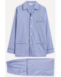 Derek Rose Core Piped Classic Fit Cotton Check Pyjama Set - Blue