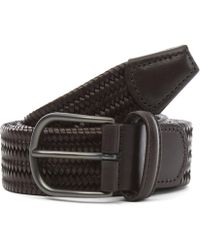 Andersons Plain Leather Woven Belt - Brown