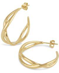 Dinny Hall - Gold Twist Small Open Hoop Earrings - Lyst