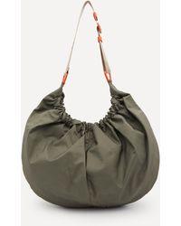Ganni Recycled Tech Fabric Xxl Hobo Shoulder Bag - Green