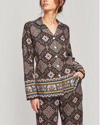 Liberty Chatsworth Brushed Cotton Pajama Set - Blue
