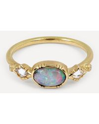 Brooke Gregson Ellipse Boulder Opal Gold Geo Ring - Metallic