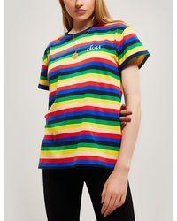 Être Cécile Rainbow Stripe Oversize Cotton T-shirt