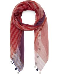 Paul Smith Check Pom Pom Scarf - Pink