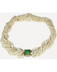 Kojis Jade And Pearl Torque Necklace - Metallic