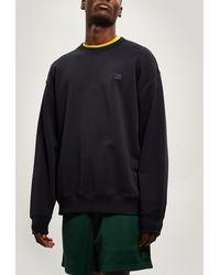 Acne Studios Forba Face Oversized Cotton Sweater - Black