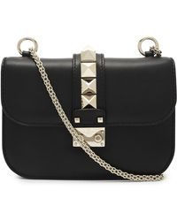 Valentino Small Leather Rockstud Cross-body Bag - Black
