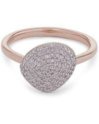 Monica Vinader Rose Gold Plated Vermeil Silver Nura Pebble Diamond Stacking Ring - Metallic
